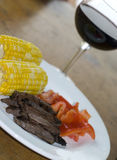 Skirt steak with corn Stock Image