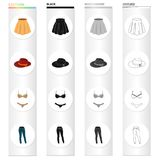 Skirt, women`s hat, underwear, jeans. Women`s clothing and accessories set collection icons in cartoon black monochrome. Outline style vector symbol stock Stock Images