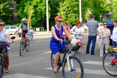 Skirtbike 2016 in Bucharest, Romania. The 7th edition Skirtbike. The event promotes both women empowerment, thus activating the Women's Rights in a modern Stock Photography