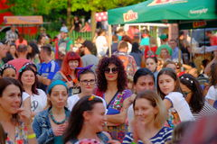 Skirtbike 2016 in Bucharest, Romania. The 7th edition Skirtbike. The event promotes both women empowerment, thus activating the Women's Rights in a modern royalty free stock image