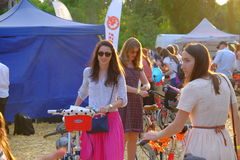 Skirtbike 2016 in Bucharest, Romania. The 7th edition Skirtbike. The event promotes both women empowerment, thus activating the Women's Rights in a modern stock photos