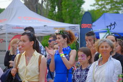 Skirtbike 2016 in Bucharest, Romania. The 7th edition Skirtbike. The event promotes both women empowerment, thus activating the Women's Rights in a modern Royalty Free Stock Images