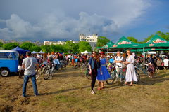Skirtbike 2016 in Bucharest, Romania. The 7th edition Skirtbike. The event promotes both women empowerment, thus activating the Women's Rights in a modern stock image