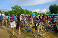 Skirtbike 2016 in Bucharest, Romania. The 7th edition Skirtbike. The event promotes both women empowerment, thus activating the Women's Rights in a modern Royalty Free Stock Photography