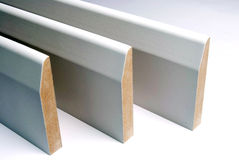 Skirting board. MDF skirting board pre primed white Stock Photography