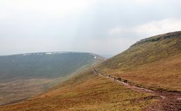 Skirting the Summit of Corn Du, Brecon Beacons Stock Photography