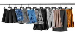 Skirts on clothes racks Stock Photography