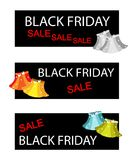 Skirts on Three Black Friday Sale Banners Stock Photo