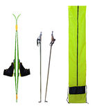 Skis and boots. Poles, boots on skis and case isolated on white background Royalty Free Stock Image