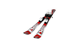 Skis for children isolated on a white background. KIEV, UKRAINE - November 17, 2010. Illustrative editorial photo - Skis for children. Company manufacturers Royalty Free Stock Image