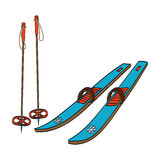 Skis with classic bindings and ski poles Royalty Free Stock Image