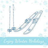 Skis With Classic Bindings And Ski Poles Stock Images