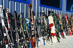 Skis in den Schweizer Alpen, La Tzoumaz Stockfotos