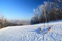 Skis en Polen en de Sleep van het Wachten Royalty-vrije Stock Afbeelding