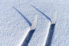 Skis in het hele land in een brosse sneeuw Royalty-vrije Stock Foto