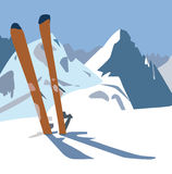 Skis. An illustration of a pair of skis in the snow on the mountain Stock Photo