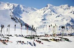 Skis and mountains Stock Photo