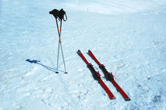 Skis and poles. In the snow Royalty Free Stock Photo
