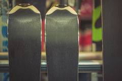 Skis in the rental winter shop Stock Image