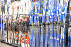 Skis on sale in the store Royalty Free Stock Photo