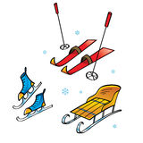 Skis Skates Sledge. Winter sports and activity Royalty Free Stock Photos