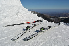 Skis and ski poles in the snow Royalty Free Stock Image
