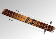 Skis with ski poles. On white background Stock Photography