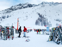 Skis and slopes view at Les Grands Montets ski area near Chamonix Stock Images