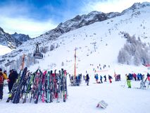 Skis and slopes view at Les Grands Montets ski Stock Photos