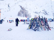 Skis and slopes view at Les Grands Montets ski Royalty Free Stock Image