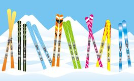 Skis in the snow royalty free stock photos