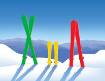 Skis in snow vector illustration
