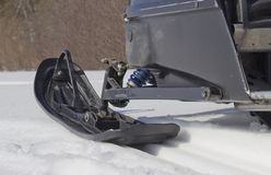 The skis of the snowmobile stock image