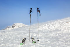 Skis and Stick on the Snow Royalty Free Stock Photography