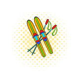 Skis and sticks icon, comics style. Skis and sticks icon in comics style on dotted background. Winter entertainment symbol Stock Photos