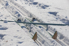 Skis travel tourism. Cross-country skiing equipment snow field Stock Image