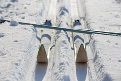 Skis travel tourism. Cross-country skiing equipment snow field Royalty Free Stock Images