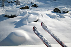 Skis in a Winter Landscape Royalty Free Stock Photography