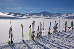 Skis and winter mountains Stock Photo