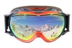 Skischutzbrillen auf Weiß Stockbild