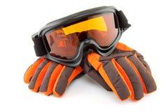 Skischutzbrillen und -handschuhe Stockfotos