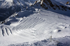 Skislope and skipark. Skislope on the Kitzsteinhorn Glacier near Kaprun, located in Austria Stock Images