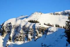 Skislopes on a mountain ridge Royalty Free Stock Photos