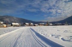 Skispoor in Beieren Stock Foto's