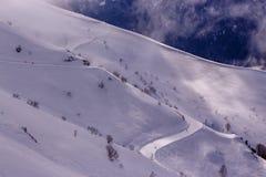 Skispoor op berghelling Royalty-vrije Stock Foto's