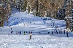 Skispoor van het ski?en complexe ` GAZPROM ` Dichtbij Sotchi, Rusland op 31 Januari, 2016 Royalty-vrije Stock Fotografie