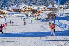 Skispoor van het ski?en complexe ` Laura, GAZPROM ` Dichtbij Sotchi, Rusland op 31 Januari, 2016 Royalty-vrije Stock Afbeelding