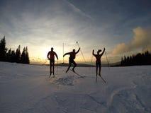 Skisporen en zonsopgang Royalty-vrije Stock Foto