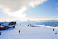 Skisport在Val加迪纳,白云岩,意大利 库存照片