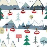 Skisport und Gebirgsnahtloses Muster mit Bäumen und Aufzug Lizenzfreies Stockfoto